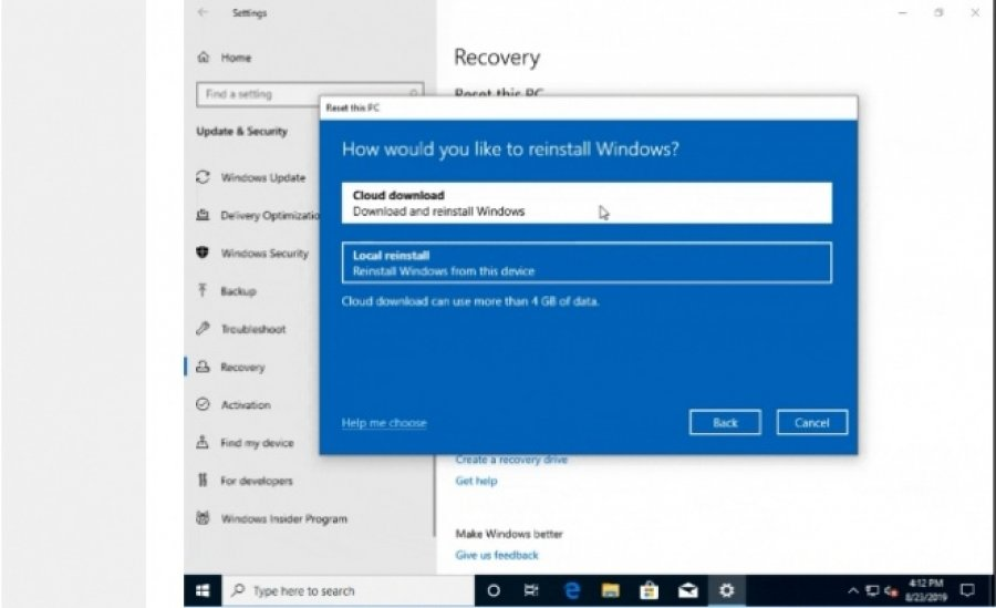 Windows 10 do ta mundësojë riinstalimin e sistemit operativ nga cloudi