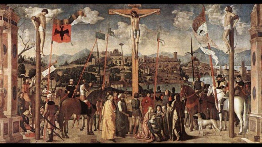 Pikturë me shqiponjë kuq e zi e vitit 1501 e kryqëzimit të Krishtit