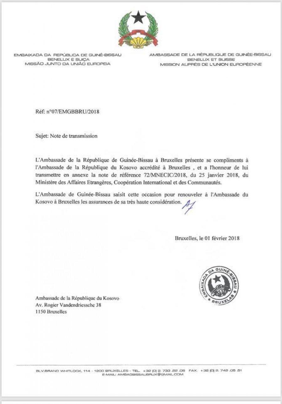 Kosova merr notën verbale për njohje nga Guineja-Bisao